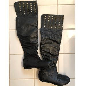 Shoes - Black over the knee flat studded boots